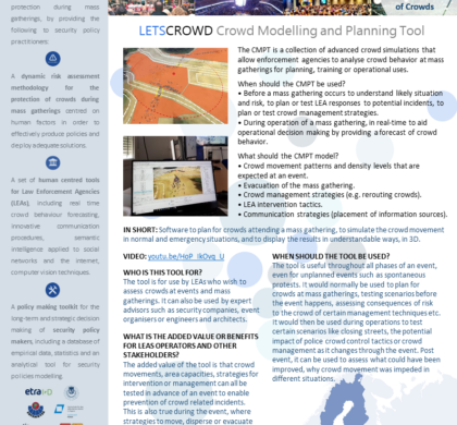 Crowd Modelling and Planning Tool (CMPT) – LESTCROWD Tool Presentation Cards #4