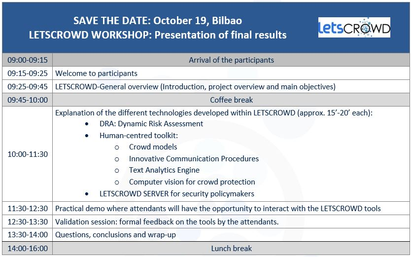Save the date. LETSCROWD WORKSHOP: Presentation of final results. Bilbao, 19.10.2019